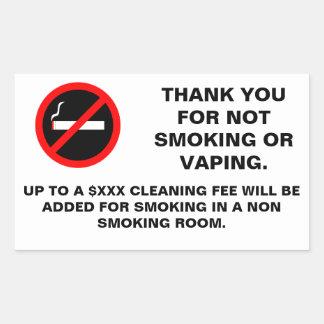 Hotel room no smoking no vaping sign sticker