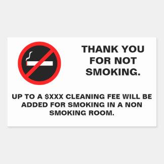 Hotel room no smoking sign sticker