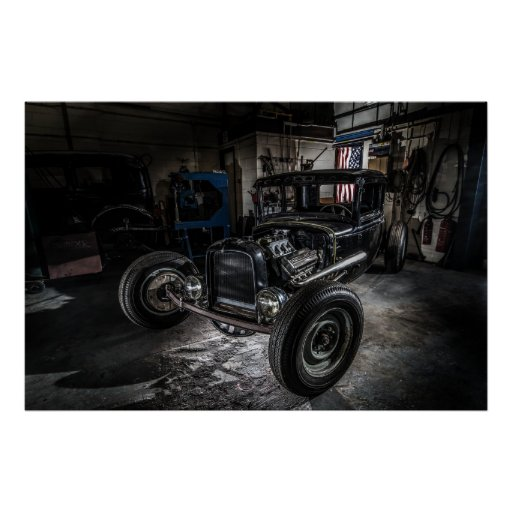 Hotrod in a Garage Poster/Print