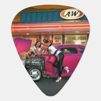 Hotrod Retro Neon Diner Car Hop Pin Up Girls Guitar Pick