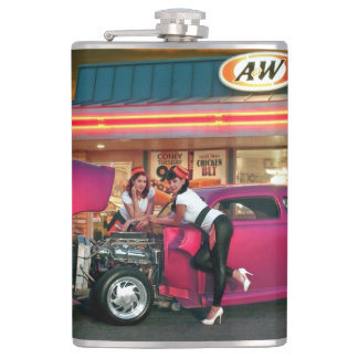 Hotrod Retro Neon Diner Car Hop Pin Up Girls Hip Flask