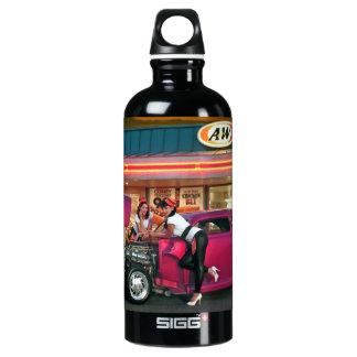 Hotrod Retro Neon Diner Car Hop Pin Up Girls Water Bottle