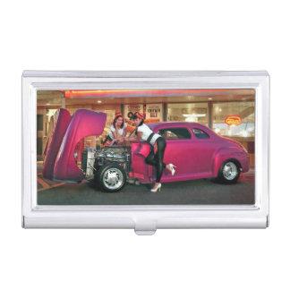 Hotrod Retro Neon Diner Classic Car Hop PinUp Girl Business Card Holder
