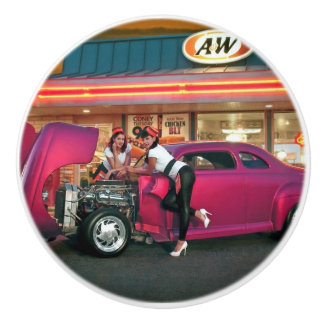 Hotrod Retro Neon Diner Classic Car Hop PinUp Girl Ceramic Knob