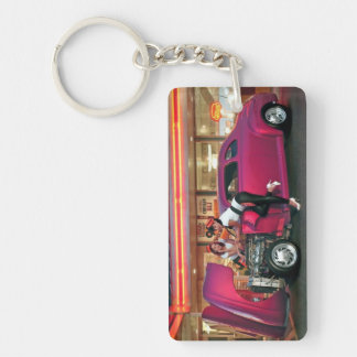 Hotrod Retro Neon Diner Classic Car Hop PinUp Girl Keychain