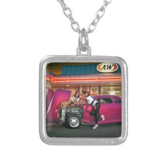 Hotrod Retro Neon Diner Classic Car Hop PinUp Girl Silver Plated Necklace