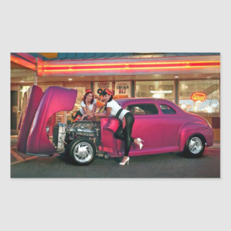Hotrod Retro Neon Diner Classic Car Hop PinUp Girl Sticker
