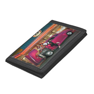 Hotrod Retro Neon Diner Classic Car Hop PinUp Girl Tri-fold Wallets