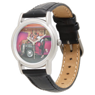 Hotrod Retro Neon Diner Classic Car Hop PinUp Girl Watch