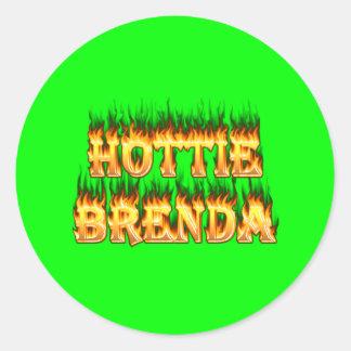 Hottie Brenda fire and flames. Round Sticker