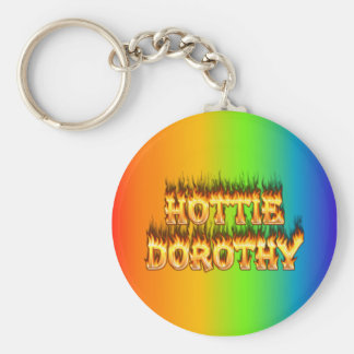 Hottie Dorothy fire and flames. Basic Round Button Keychain