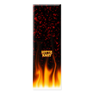 Hottie Mary fire and flames red marble. Mini Business Card