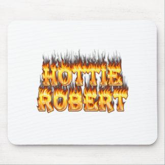 Hottie Robert fire and flames Mousepads