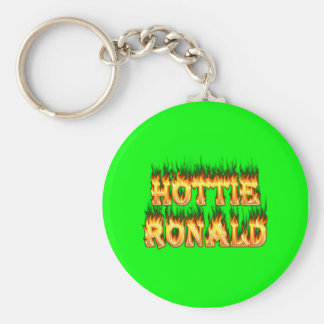 Hottie Ronald fire and flames Basic Round Button Keychain