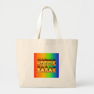 Hottie Sarah fire and flames Large Tote Bag