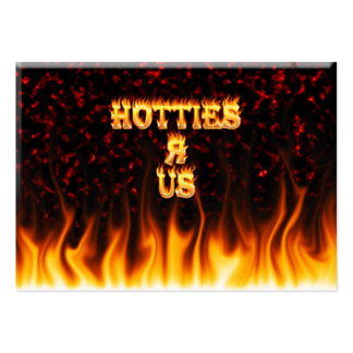 Hotties R Us fire and flames red marble Large Business Card