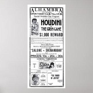 Houdini 1919 vintage movie ad poster