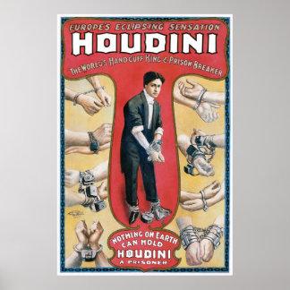 Houdini ~ Vintage Handcuff Escape Artist Poster