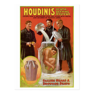 Houdini's ~ Illusionist Vintage Escape Artist Postcard