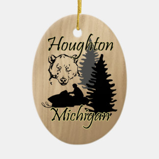 Houghton Michigan Snowmobile Bear Ceramic Ceramic Ornament