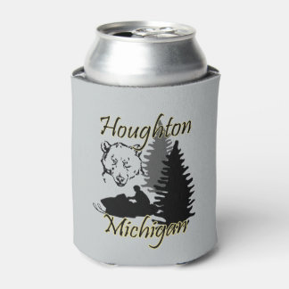 Houghton Michigan Snowmobile Bear Custom CC Can Cooler
