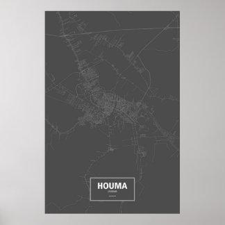 Houma, Louisiana (white on black) Poster