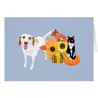 Hound and cat in autumn card
