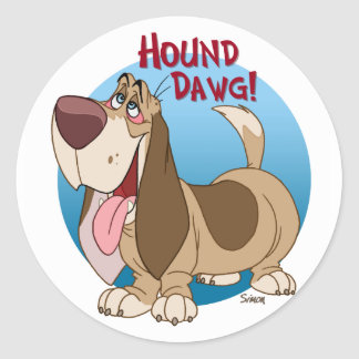hound dawg round sticker