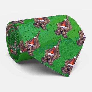 Hound Dog Christmas On Green Tie