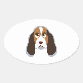 Hound Head Oval Sticker