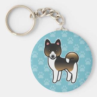 Hound Tricolor Akita Cartoon Dog Keychain