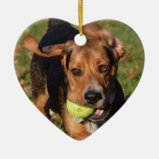 Houndie Beagle Ears Flapping Valentine's Day Heart Ceramic Ornament