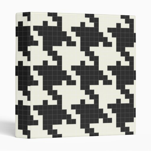 Hounds Tooth Pixel-Textured 3 Ring Binder