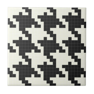 Hounds Tooth Pixel-Textured Ceramic Tiles
