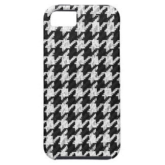 houndsthooth textured black and white case