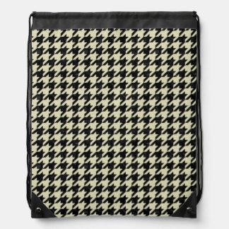HOUNDSTOOTH1 BLACK MARBLE & BEIGE LINEN DRAWSTRING BAG
