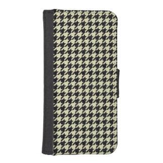 HOUNDSTOOTH1 BLACK MARBLE & BEIGE LINEN iPhone SE/5/5s WALLET CASE