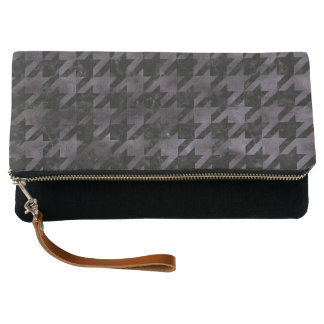HOUNDSTOOTH1 BLACK MARBLE & BLACK WATERCOLOR CLUTCH