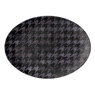 HOUNDSTOOTH1 BLACK MARBLE & BLACK WATERCOLOR PORCELAIN SERVING PLATTER