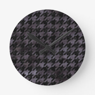 HOUNDSTOOTH1 BLACK MARBLE & BLACK WATERCOLOR ROUND CLOCK