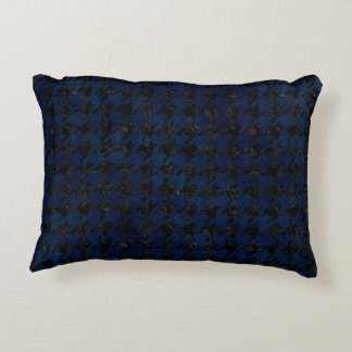 HOUNDSTOOTH1 BLACK MARBLE & BLUE GRUNGE DECORATIVE PILLOW