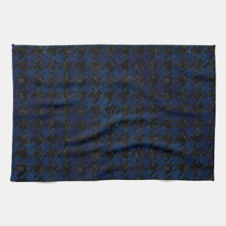 HOUNDSTOOTH1 BLACK MARBLE & BLUE GRUNGE KITCHEN TOWEL