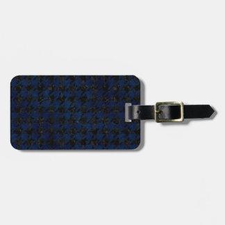 HOUNDSTOOTH1 BLACK MARBLE & BLUE GRUNGE LUGGAGE TAG