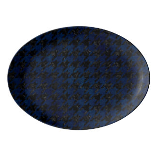 HOUNDSTOOTH1 BLACK MARBLE & BLUE GRUNGE PORCELAIN SERVING PLATTER