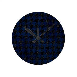 HOUNDSTOOTH1 BLACK MARBLE & BLUE GRUNGE ROUND CLOCK