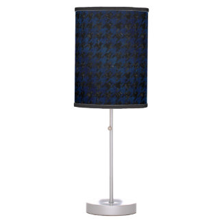 HOUNDSTOOTH1 BLACK MARBLE & BLUE GRUNGE TABLE LAMP