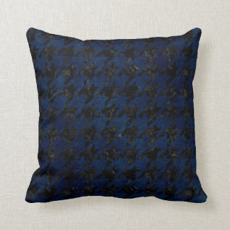 HOUNDSTOOTH1 BLACK MARBLE & BLUE GRUNGE THROW PILLOW