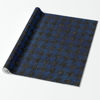 HOUNDSTOOTH1 BLACK MARBLE & BLUE GRUNGE WRAPPING PAPER