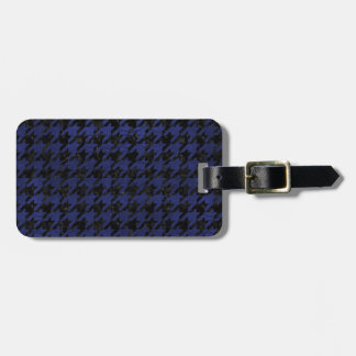 HOUNDSTOOTH1 BLACK MARBLE & BLUE LEATHER BAG TAG