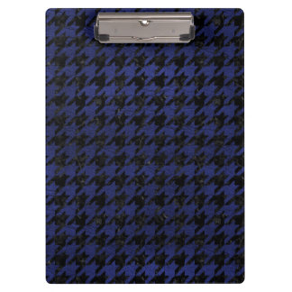 HOUNDSTOOTH1 BLACK MARBLE & BLUE LEATHER CLIPBOARD